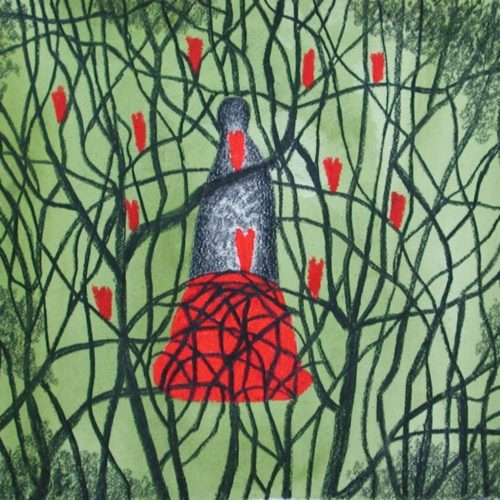 Traumgestalt gouache/houtskool/oliepastel op papier, 34x31cm, 2010