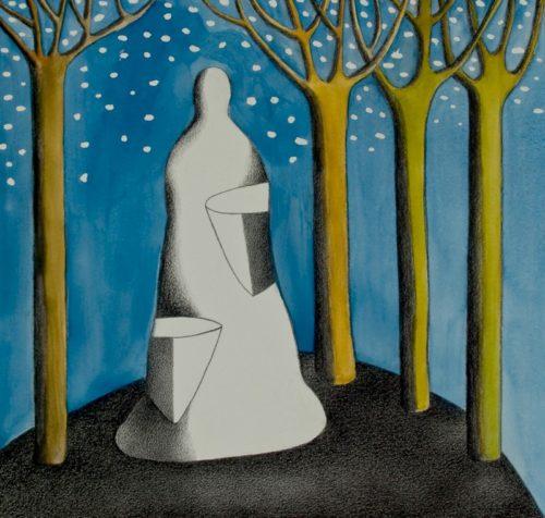Traumgestalt aquarel/contépotlood op papier 42x44cm, 2009